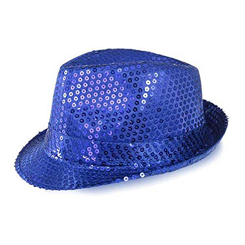 (Funkeet Adult Sequin Fedora Hat Kid Dance Cap Solid Jazz Hat Party Glitter Costum (L - Adult, Blue))