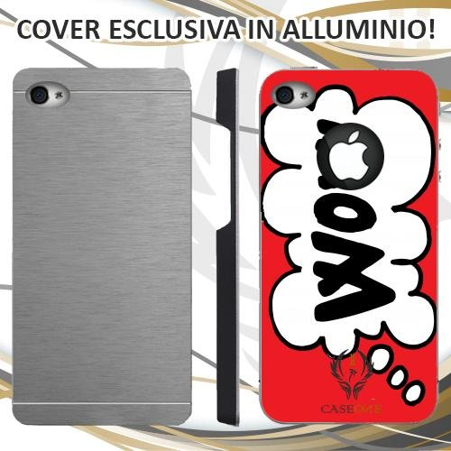 CUSTODIA COVER CASE CASEONE WOW FUMETTO PER IPHONE 4 4S IN ALLUMINIO