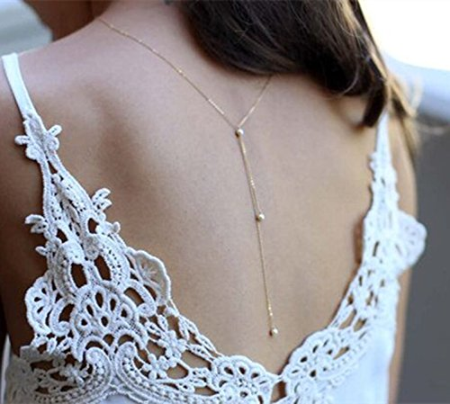 Backdrop Necklace (Yfe Back Necklace Backdrop Pearls Body Chain Jewelry for Women and Girls Bridal Jewelry(Silver))