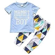 Baby Boys Summer 2Pcs Outfit Mama's Boy Short Sleeve T-shirt Pants Clothing Set (0-6Months, Blue)