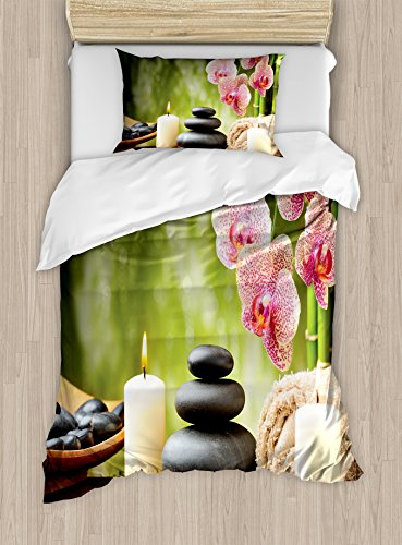 Lunarable Peace Duvet Cover Set, Basalt Stones Bamboo Scented Candles Flowers and Blurred Background Meditation Print, Decorative 2 Piece Bedding Set with 1 Pillow Sham, Twin Size, Green Pink