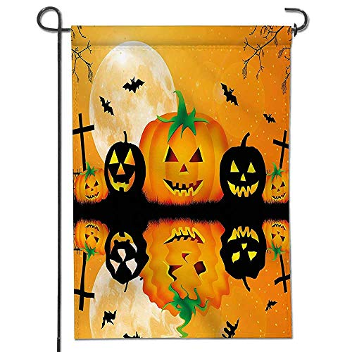 Mikihome Garden Flag for Yard Decorations and Outdoor Decor Spooky Carved Halloween Pumpkin Decor Full Moon with Bats and Grave by Lake Double Sided -