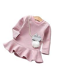 Vinjeely Toddler Girls Solid Striped Princess Sweatshirt Fall Winter Dress