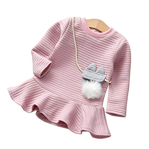 Kamendita Baby Girls DressToddler Kids Baby Girl Cartoon Striped Princess Sweatshirt Dress Clothes Jumpsuit Outfits (12M-5T)