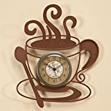 Coffee Cafe Latte Cup Theme Kitchen Wall Art Clock Metal Home Decor 10 1/2''H