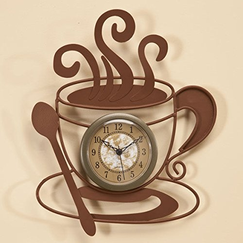 Coffee Cafe Latte Cup Theme Kitchen Wall Art Clock Metal Home Decor 10 1/2''H by Home Decoration