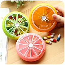 Portable Rotating Pill Box 7 Day Medicine Vitamins Container Storage Dispenser, Cute Fruit Style (3PCS)