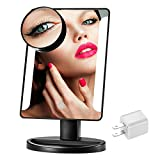 Lighted Makeup Mirror Plug in Kulannder LED Makeup Mirror, 36 LED Lights Illumination Touching Screen Mirror, with Adjustable 3.5 Inches 10x Magnification Spot Mirror(White/Black)(Black)