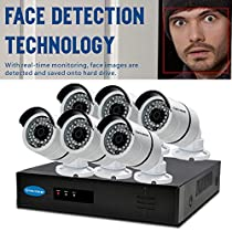 OWLTECH 8 Channel Face Detection 5MP NVR with preinstall 2TB HDD - 6 x 4MP 3.6mm IP Bullet Camera with Built in Microphone plus 100ft Cable and Accessories