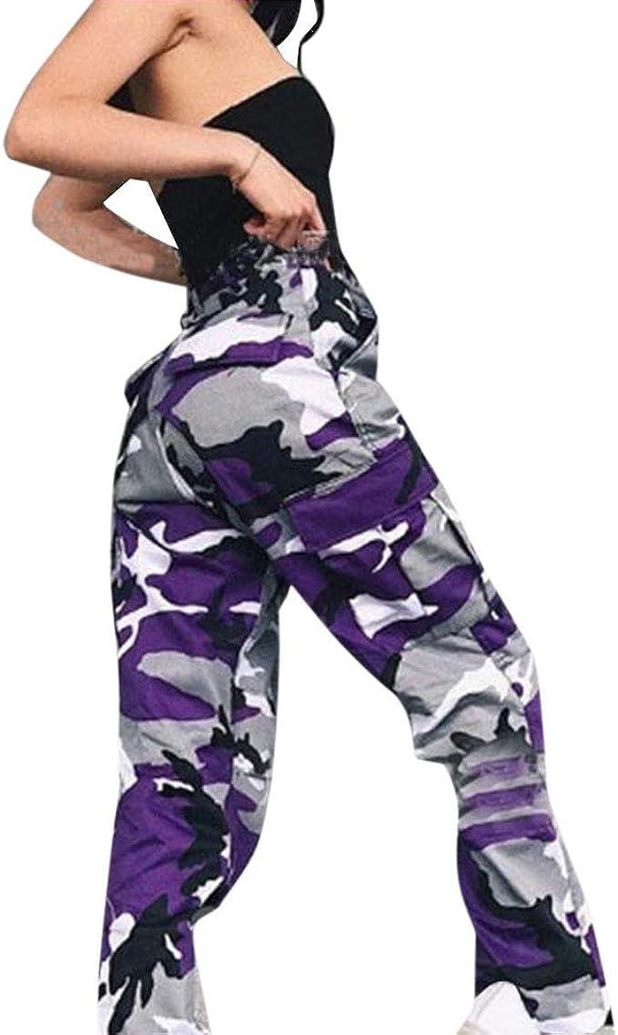 Bublanwoスポーツズボン ジーンズ 欧米風 迷彩柄 美脚 かっこいい カジュアル レディース ポケット付き ウエストゴム 運動着 ロングパンツ アウトドア