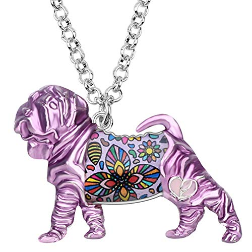 AISHIPING Enamel Alloy Shar Pei Dog Necklace Pendant Collier Animal Jewelry for Women Girls Gift -