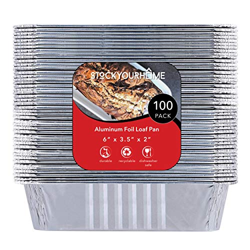 "1 lb Aluminum Foil Loaf Pans (100 Pack) - Disposable Mini Size Bread and Cake Pan Great for Restaurant, Party, BBQ, Catering, Baking, Cooking, Heating, Storing, Prepping Food – 6"" x 3.5"" x 2"""