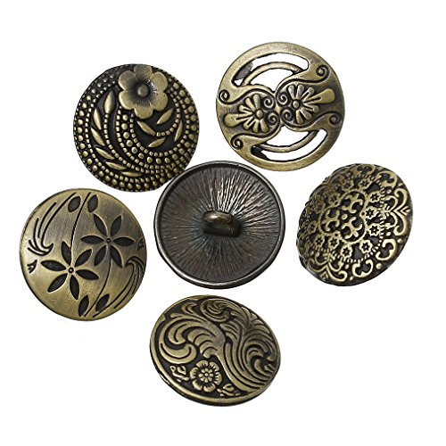 Souarts Pack of 30pcs Mixed Antique Bronze Color Round Shape Pattern Engraved Metal Buttons