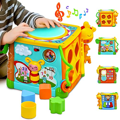 (Forstart Activity Cube | 5 in 1 Drum Activity Center Musical Toy Multipurpose Kids Toddlers Shape Color Sorter Skill Improvement Educational Early Learning Game Toys My Busy Town (Drum Activity Cube))