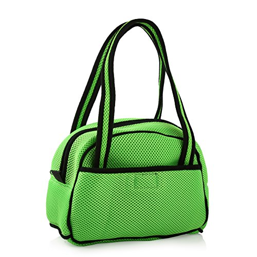 Joueurpet Breathable Top Opening Pet Dog Cat Ventilated Mesh Carrier Bag Handbag for Travel Transport Grass Green