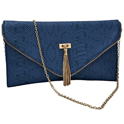 Design 2 à Blue Womens d'embrayage Envelope Smart Faux Sac Animal main Croc Leather Imprimer ZPg7qZw