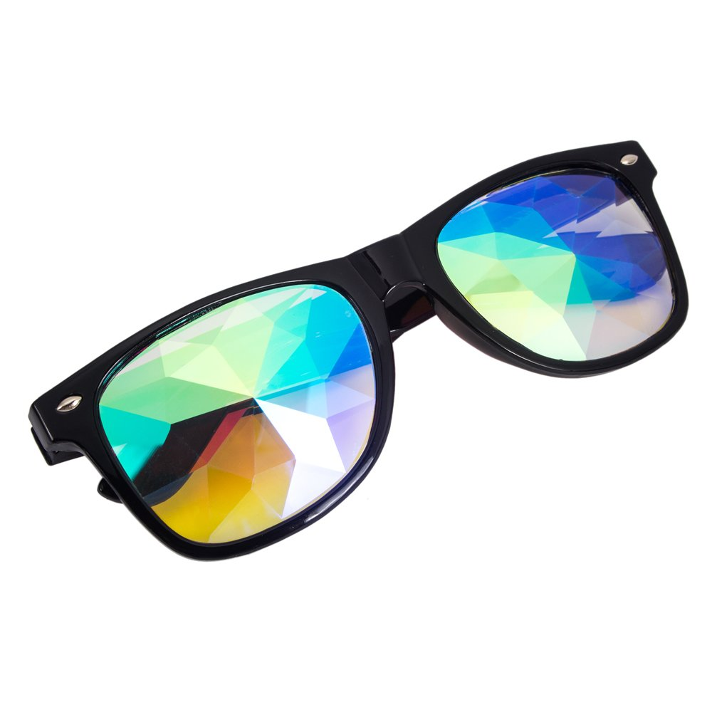 Kaleidoscope Glasses-Rainbow Rave Light Diffraction Eyewear Glasse-The Original Prism Rave Sunglasses-1 pcs Black Frame MG017-CN-LJ2