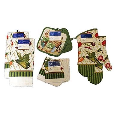 8-Piece Fresh Garden Vegetables Kitchen Linen Set, Towels, Dish Cloths, Pot Holders, Oven Mitts