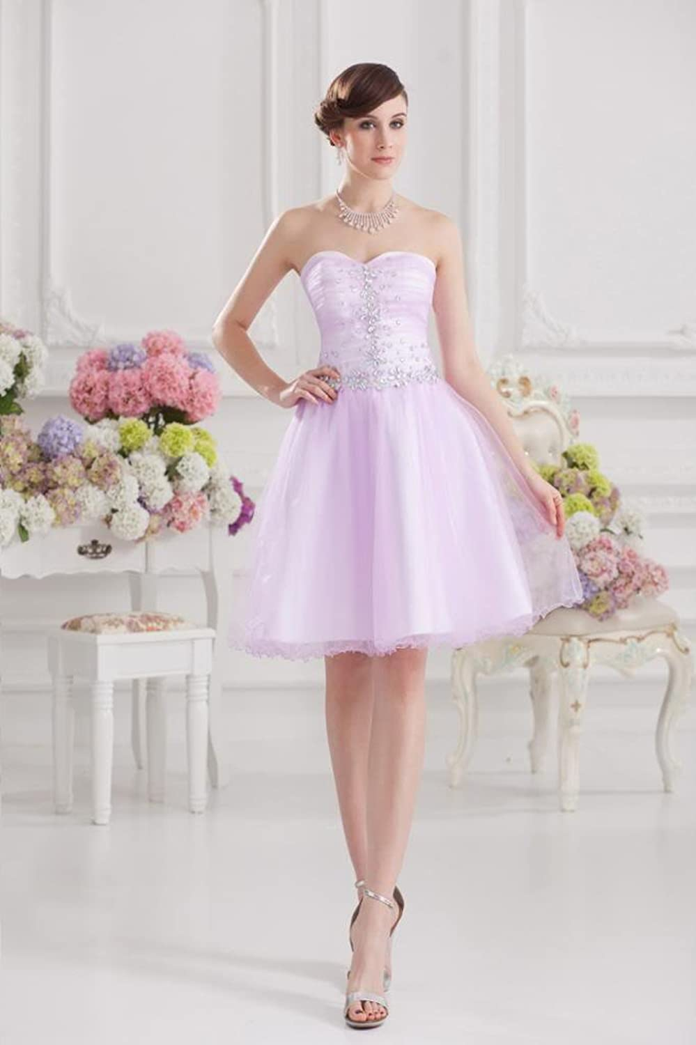 GEORGE BRIDE Sweetheart Beaded Bodice Knee-length Party Dress, Lilac, 46