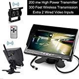 E-KYLIN Built-in Wireless Truck Parking System - 12-24V Backup Camera + 7 inch HD LCD TFT Rear View Monitor Parking Kit IR Night Vision Surveillance Heavy Duty for Long Vehicle Bus Van Pickup Camper