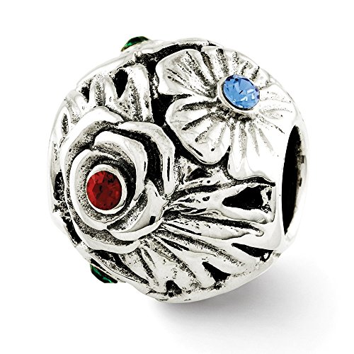925 Sterling Silver Charm For Bracelet Multicolor Swarovski Crystal Flower Bead Floral Stone Fine Jewelry Gifts For Women For Her