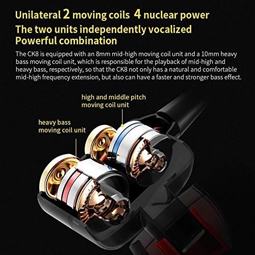 Altoparlante a cavo flessibile a doppia dinamica CK8 con doppio driver per auricolari