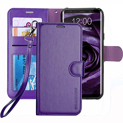 Galaxy S8 Case, ERAGLOW Luxury PU Leather Wallet Flip Protective Case Cover with Card Slots and KickStand for Samsung Galaxy S8 (Purple)