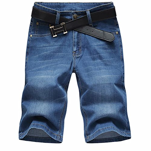 SUSIELADY Men's Denim Shorts Pants 5 Pocket Casual Straight Fit Stretch Moto Biker Jeans Short for Men 2018 Summer
