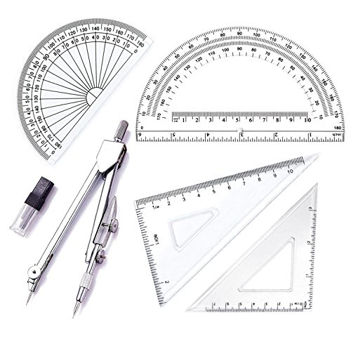 5 Piece Geometry School Set,with Quality Compass, Set Squares, Protractor,Drawing Compass Math Geometry Tools(5 ()