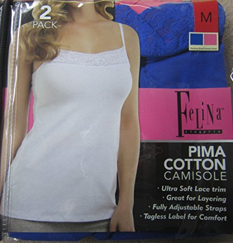 Felina Pima Cotton Camisole 2-pk Dazzling Blue/camelia Rose (Medium) (Felina Cotton Camisole)