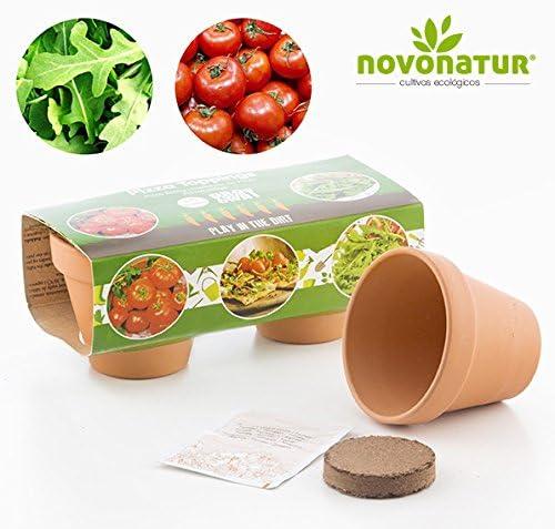 Kit cultivo, kit huerto urbano niños de 2 mini macetas de Tomate y ...