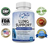 Amate Life Lung Support Dietary Supplements- Herbal Breathing Support- 10 Active Ingredients- Original Formula for Lung Health- Lung Cleanse Formula- Supplement for Bronchial System- 60 Caps- Non GMO