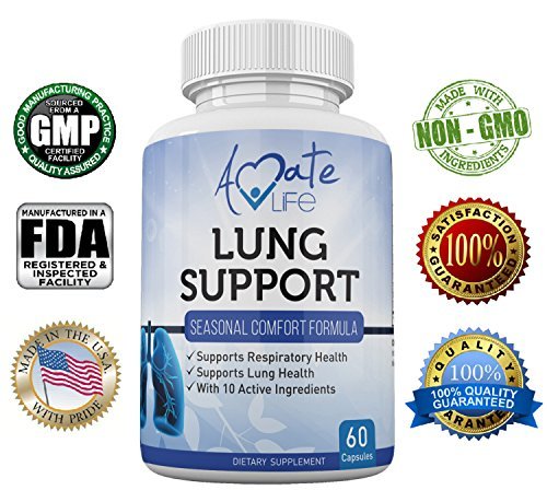 Cheap Amate Life Lung Support Dietary Supplements- Herbal Breathing Support- 10 Active Ingredients- Original Formula for Lung Health- Lung Cleanse Formula- Supplement for Bronchial System- 60 Caps- Non GMO