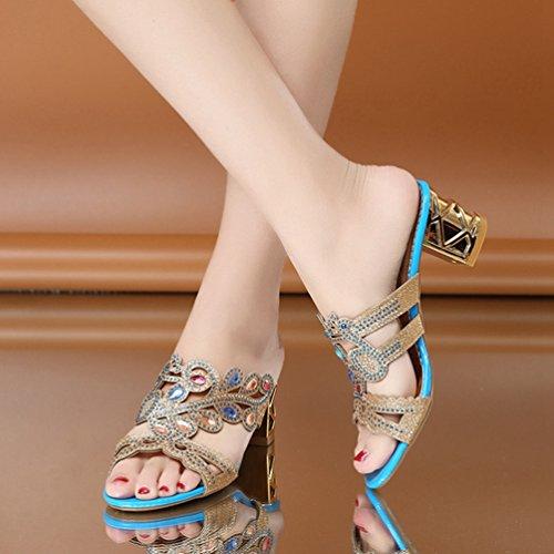 Plate Femmes Robe de Dérapant Anti Sandales Chaussures Paillettes Mode Forme de Strass Orteil Cales Ouvert Talon BrAnr