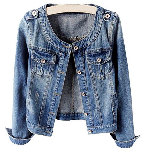 Denim Jackets Trendy XU Women Retro Collarless Long Sleeve Short Crop Jeans Coat (M) (Collarless Cropped Jacket)