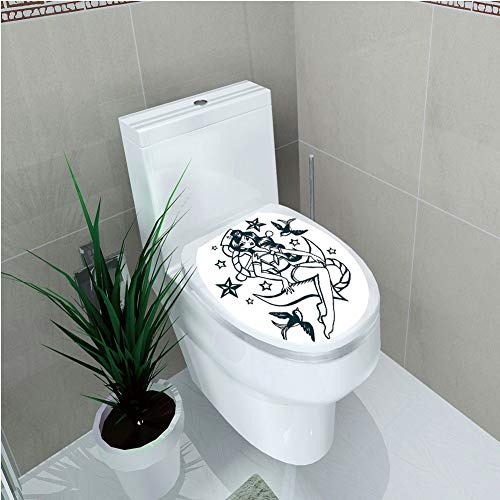 Toilet Cover Sticker 3D Printing,Anchor,Pin up Girl Nautical Sailor Suit Surrounded by Swallow Birds Stars Hand Drawn Decorative,Dark Blue White,for You Design,W11.8