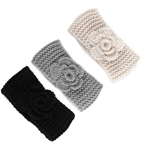 Fairoyal 3-Pack Cute Crochet Handmade Kids' Headbands with Flower Keep Ears Warm Knitting Girls'Earmuffs Hair Band for 0-5 Years old (Combination 4)
