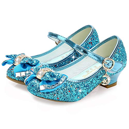 Princess Shoes for Girls Size 10 Wedding Flower Girl Party Shoes Medium High Heels Glitter Little Girls Blue Dress Bridesmaid Mary Jane Shoes 4 Yr Cute (Blue 27) ()