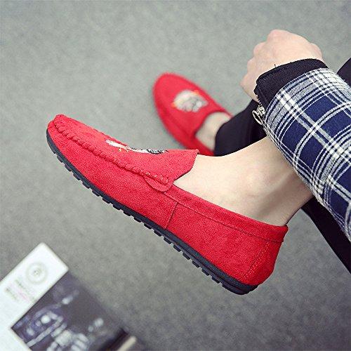 Calzado Para Hombre Mocasines Vestir De Zapatos Zapatillas Baolesem Plano Casual Conducción Rojo E0qU5U