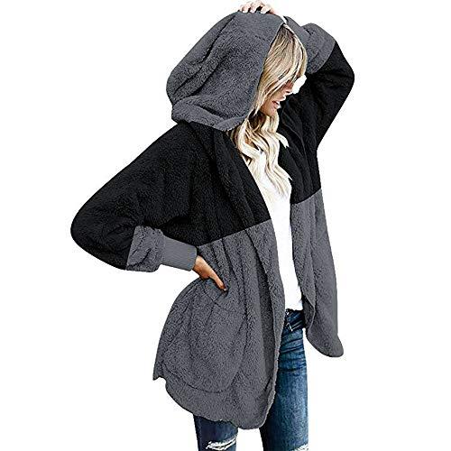 Rambling New Women's Oversized Sherpa Fuzzy Casual Loose Pullover Hoodie with Pockets 1/4 Zip Warm Wool Sweatshirt Outwear (XJB Black, XXX-Large)
