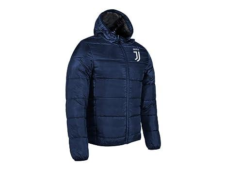 JUVE Piumino Imbottito Giacca con Cappuccio Bomber Juventus Prodotto Ufficiale Ragazzo Uomo (Blu Navy)