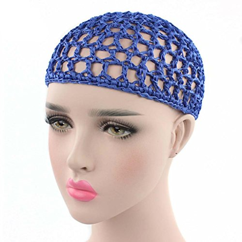 - YJYdada Women Hand Crochet Hair Woven Hair Net Hair Cap Night Cap (Blue)