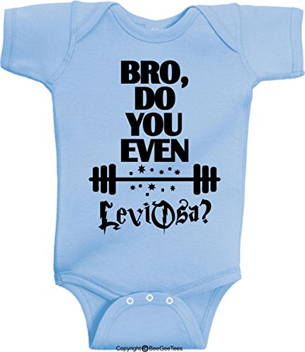 Bro Do You Even Lift LeviOsa Funny Harry Potter Baby Onesie by BeeGeeTees (Unisex-Baby) (18 Months, Light (Lite Lift)