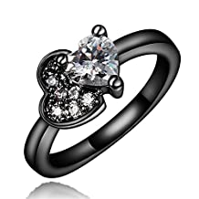 Love Heart Knot Wedding Band Ring Black Gold Bridal Jewelry Austrian Crystal