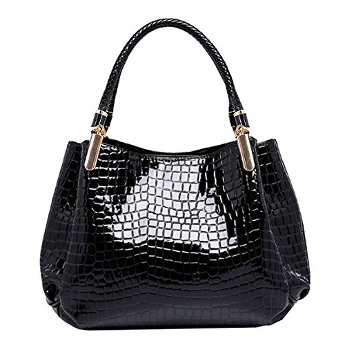 Women Alligator Print Top Handle Bag Embossed Crocodile Pattern Handbag Tote Bag(Black)