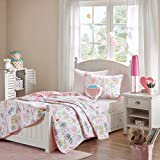 8 Piece Girls Pink White I Love Paris Coverlet Full Set, Cute Girly All Over France Inspired Bedding, Fun Pretty Eiffel Tower Bicycle Bike Hot Air Balloon Poodle Dog Themed Pattern, Blue Green Yellow