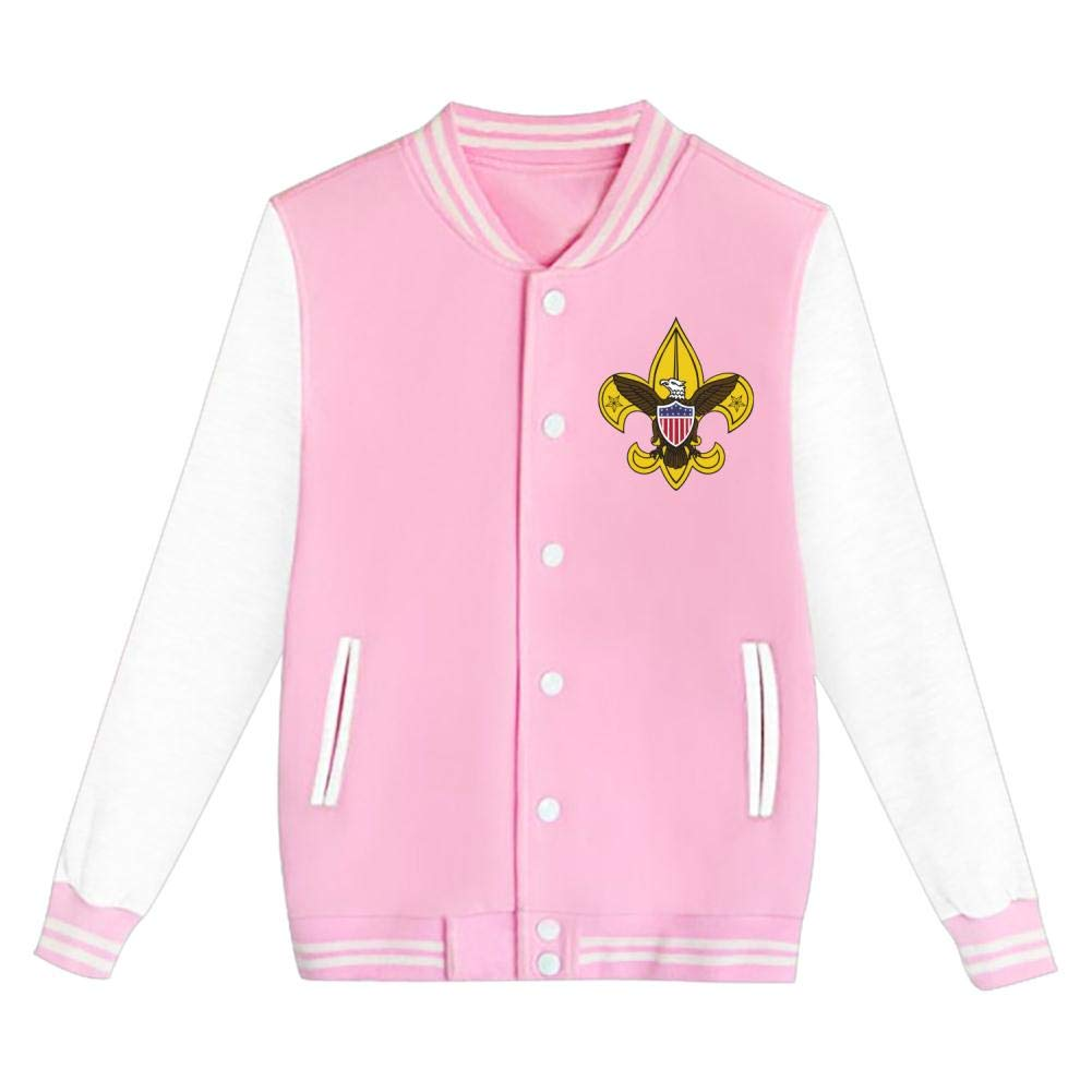 FANZAO Teen Boy Scouting Baseball Jacket Uniform Unisex Coat Pink XL by FANZAO