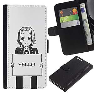 """Apple (5.5 inches!!!) iPhone 6+ Plus , la tarjeta de Crédito Slots PU Funda de cuero Monedero caso cubierta de piel ("""" Hello Grey Anime Japanese Cartoon Message"""")"""