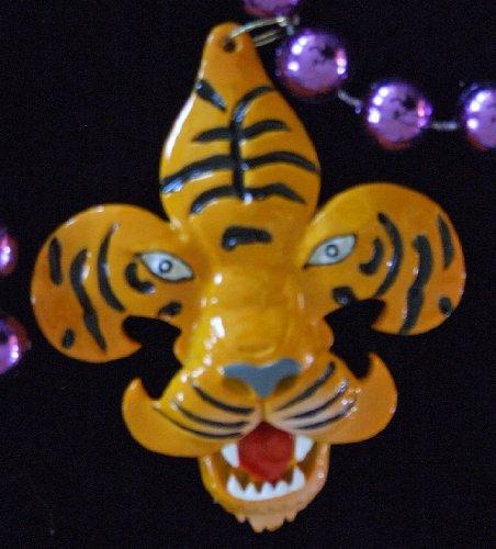 Fleur de Lis Tiger Mardi Gras Beads Necklace New Orleans Mardi Gras Spring Break Cajun Carnival Festival (Fleur Tiger De Lis)