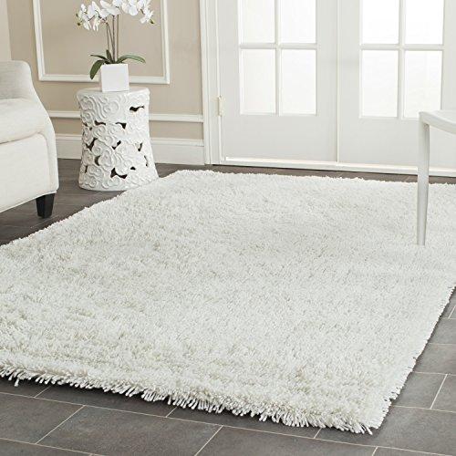 Safavieh Classic Shag Collection SG240A Handmade White Area Rug (5' x 8') (White Shag Rugs)
